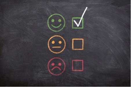 happy and sad face drawing on chalkboard, web design New York